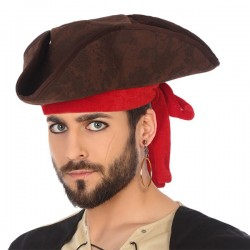 Hat Pirate Brown Red 119502