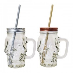 Jar with Lid and Straw Glass