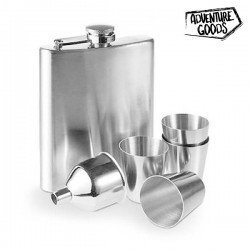 Steel Hip Flask Set with...